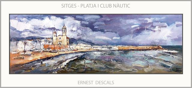 SITGES-PINTURA-PLATJA-CLUB NÀUTIC-ESGLESIA-PINTURES-PAISATGES-CATALUNYA-ARTISTA-PINTOR-ERNEST DESCALS-