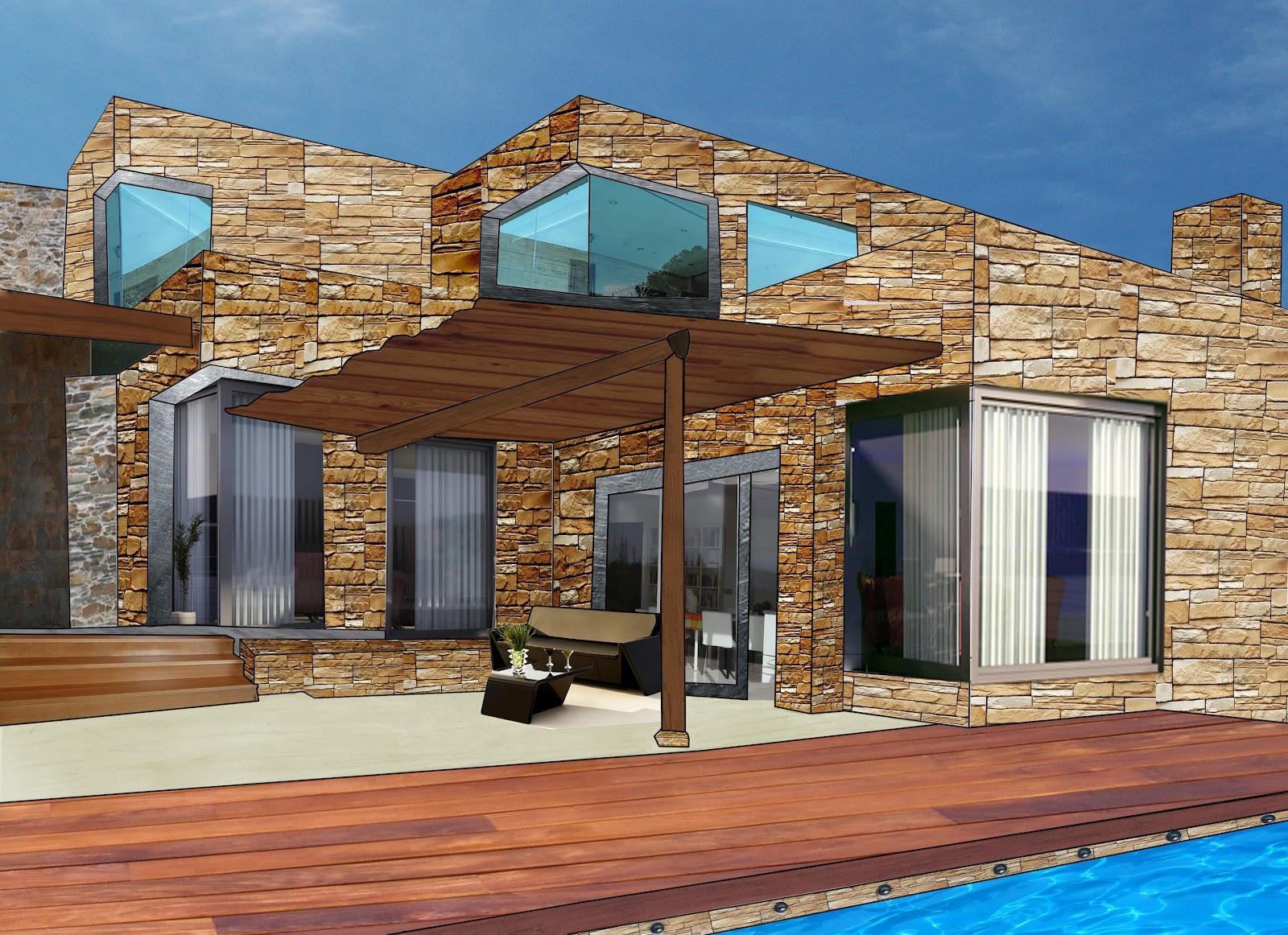 Dibujo y dise o digital casa modular de piedra - Casas con piscina en galicia ...