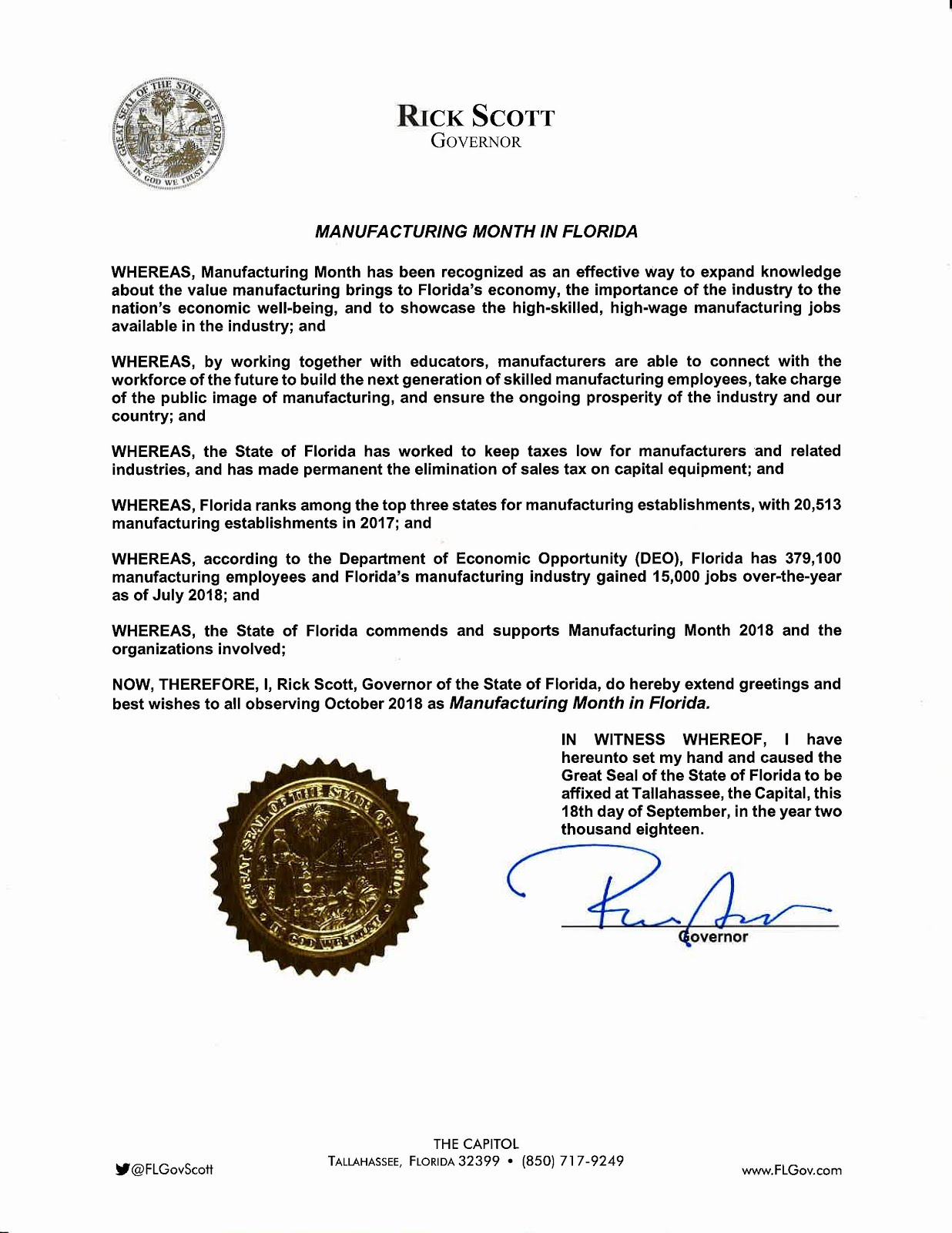 Manufacturing Month Proclamation