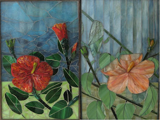 Both sides of a reversible glass on glass mosaic titled &quot;Fire and Rain&quot; featuring a hibiscus flower.