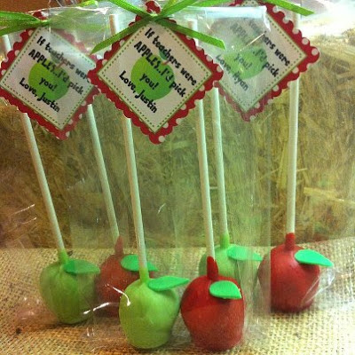 apple cake pops, teacher gift