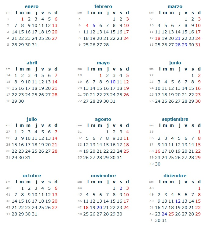 ... con los siguientes días festivos o feriados de descanso obligatorio