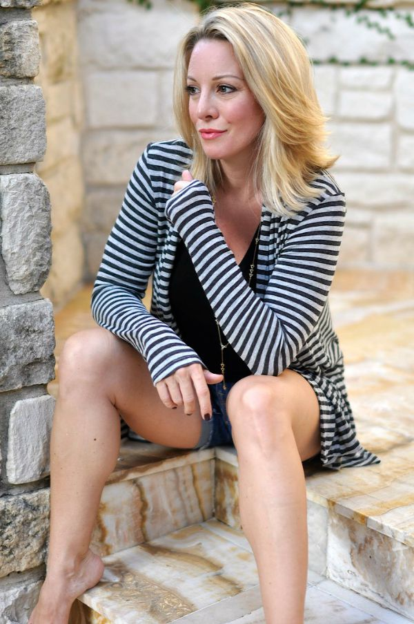 Bobeau Striped Cardigan