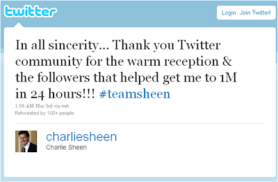 Charlie Sheen 1 million followers tweet