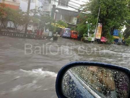 Flooding in Denpasar Bali Indonesia
