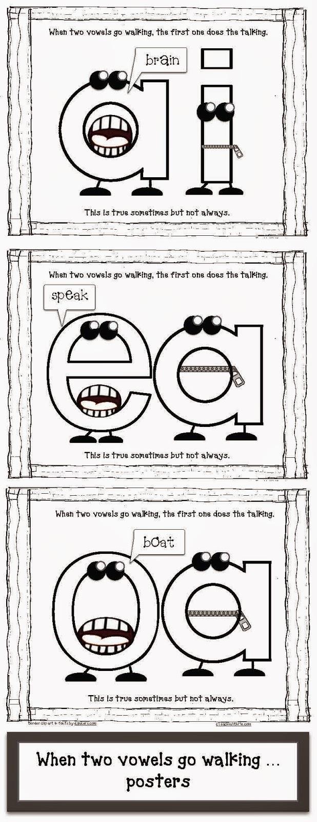 worksheet Vowel Team Worksheets classroom freebies when 2 vowels go walking packet posters