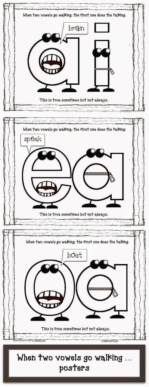 When 2 Vowels Go Walking- Word Sort (oa, ie, ea) by Tickled Primary