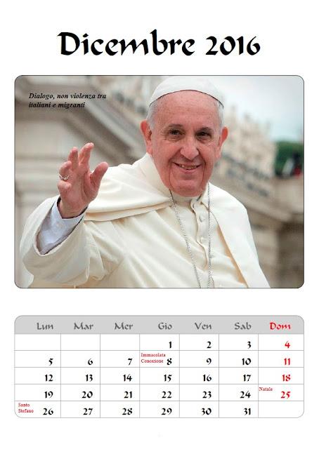 Calendario 2016 Papa Francesco - dicembre - frasicelebri