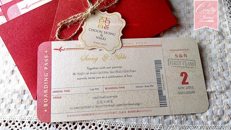 Chinese Red Wedding Card in Boarding Pass Theme Malaysia, Kuala Lumpur