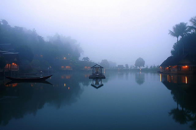 Misty morning at Kampung Sampireun, Java, Indonesia