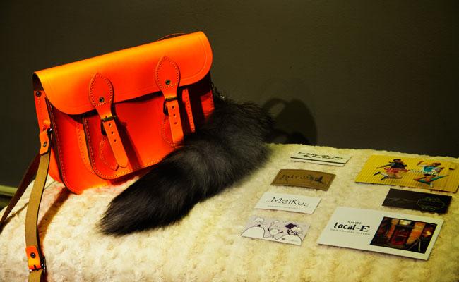 Cambridge Satchel Company Fluoro bag, Faux Fox tail, cards from Make it The handmade revolution