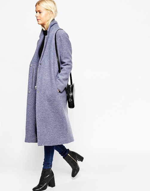 light blue wool coat, blue maxi coat, zip wool coat,