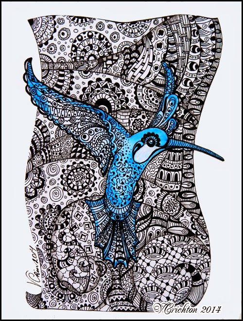 Зентангл_Колибри_Zentangle_The-humming-bird