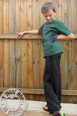 Mario Mushroom Shirt with Straight Leg Plaid Pants