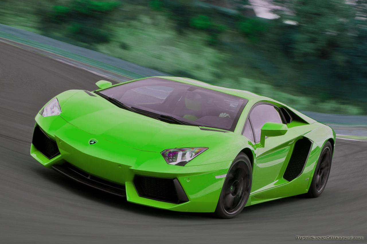Lime Green Lamborghini Aventador 8