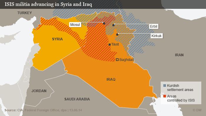 Peta wilayah yang dikuasai ISIS di Irak dan Suriah