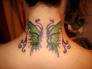 Butterfly Tattoo Design on Neck