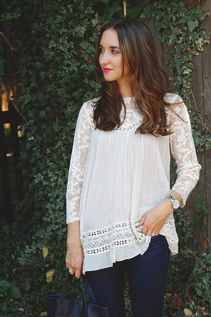 golden age top, free people, peasant top, free people tunic, dylan tote, navy leather tote