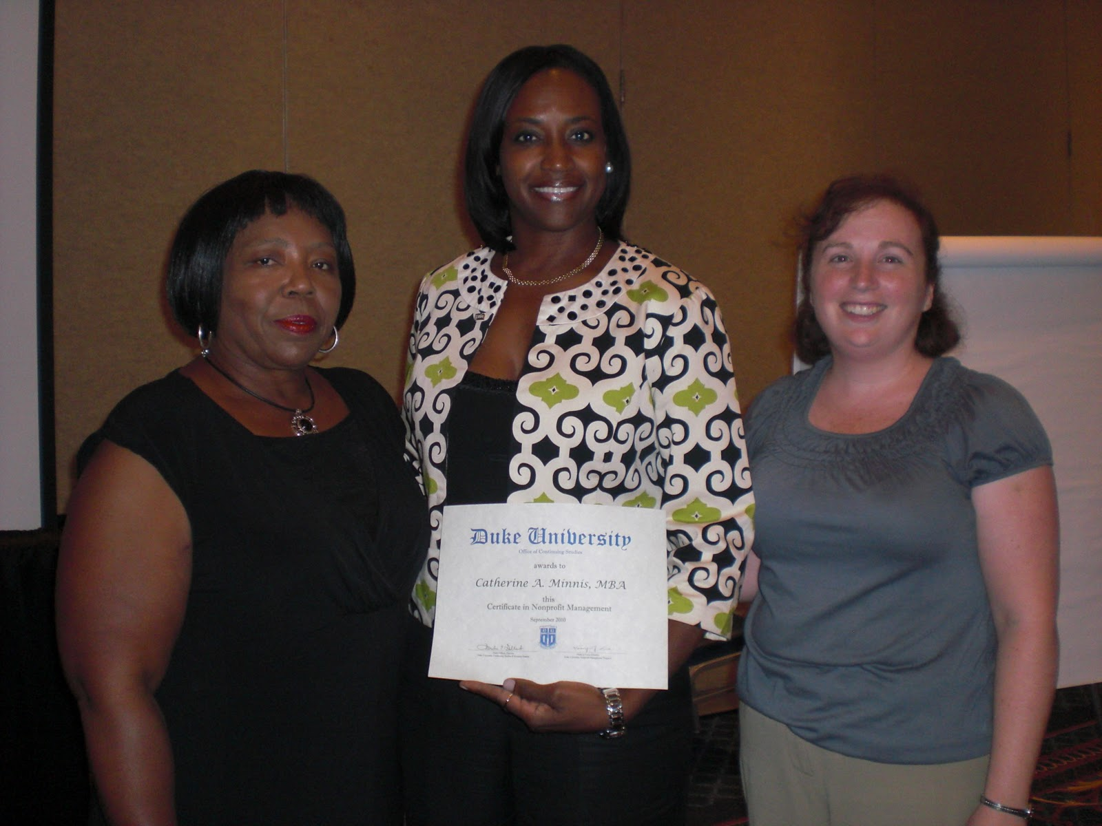 The Minnis Chronicle: Duke Certificate Awarded in Nonprofit Management