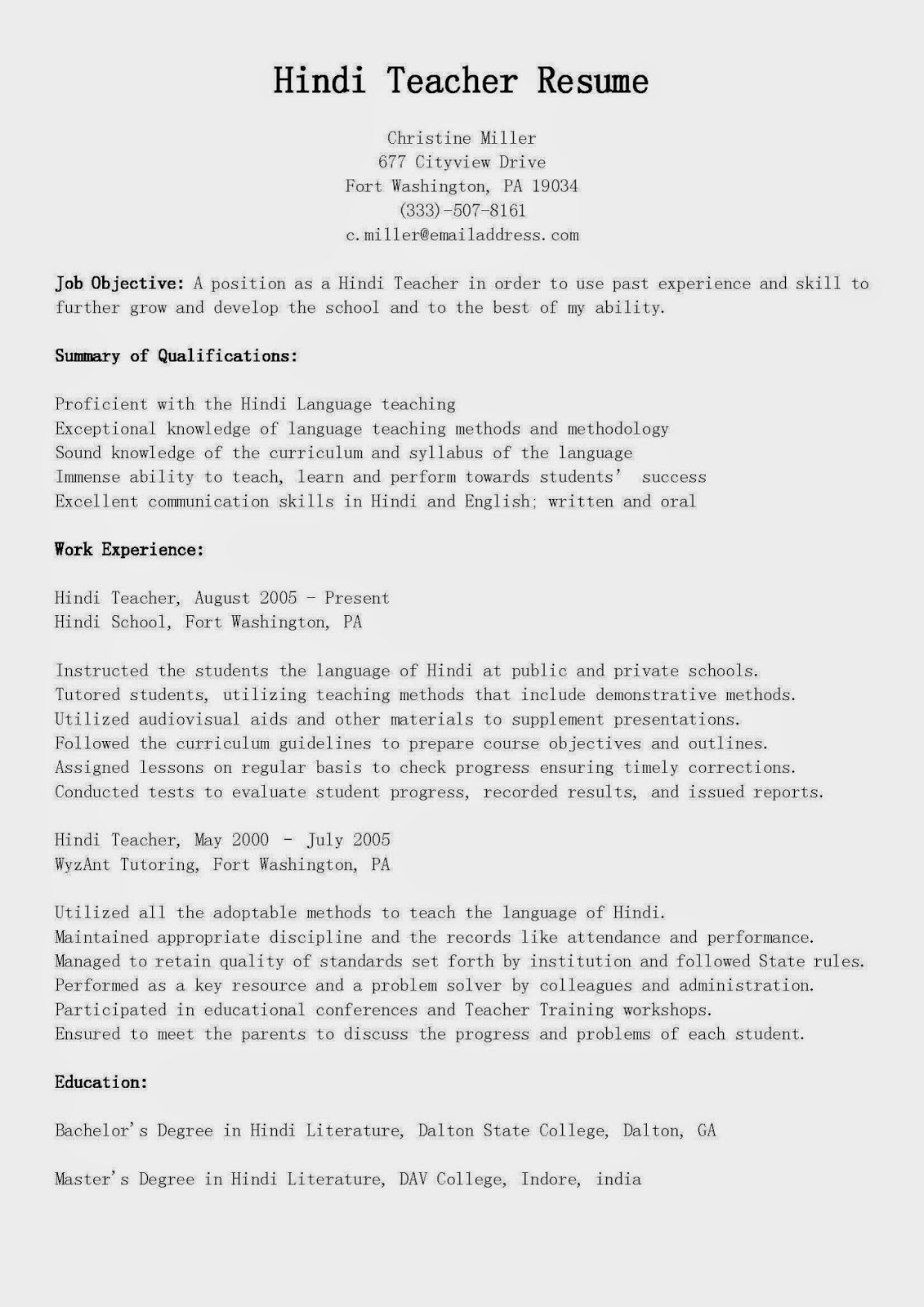 Private School Teacher Resume