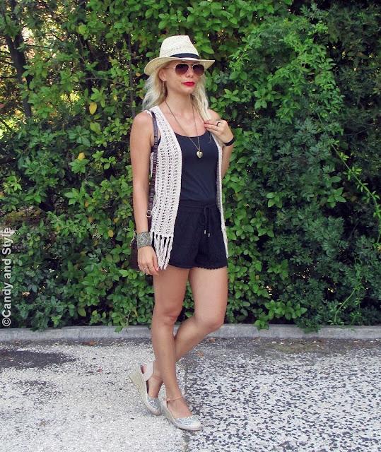 StrawFedora+AviatorShades+CrochetVest+BlackTank+LaceShorts+WedgeEspadrilles+MiniBag+RedLips+BeachWaves - Lilli Candy and Style Fashion Blog