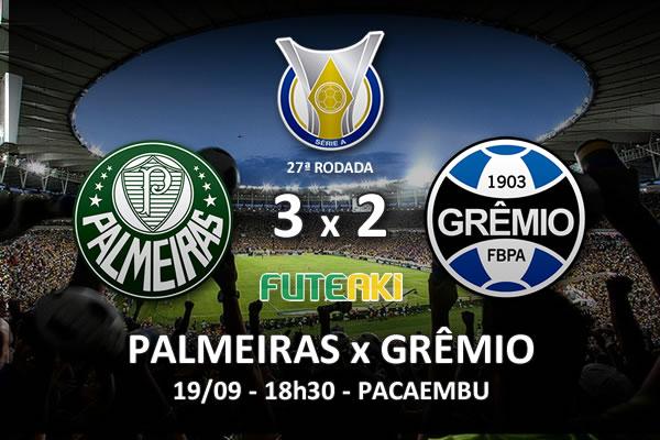 Veja o resumo da partida com os gols e os melhores momentos de Palmeiras 3x2 Grêmio pela 27ª rodada do Brasileirão 2015.