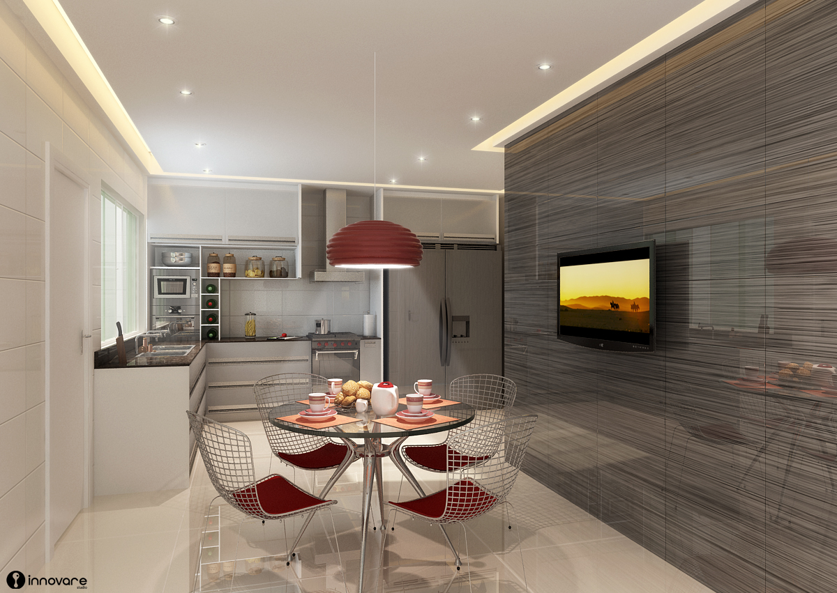 uma mesinha com pé cromado trouxe modernidade à essa cozinha toda #B09E1B 1200 851