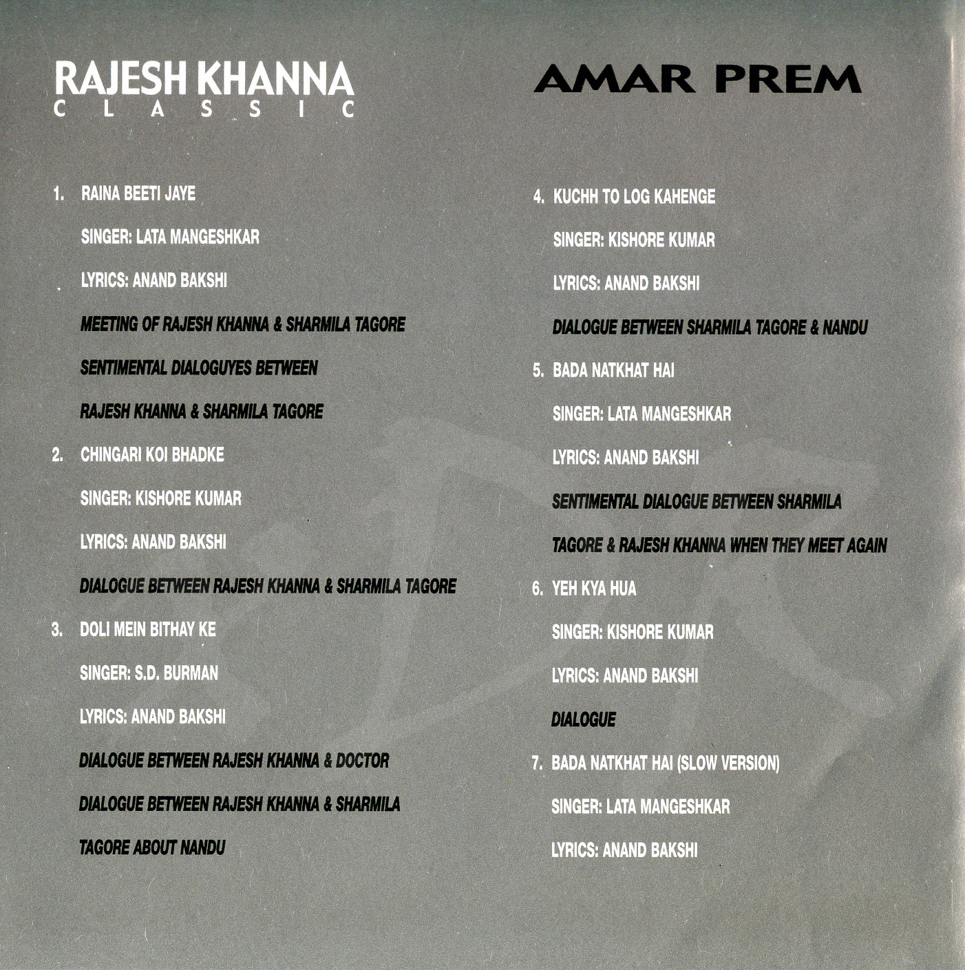 Amar Prem Lyrics and video of Songs from the Movie Amar Prem