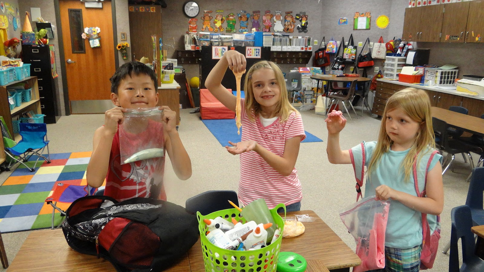 Patties classroom slime recipe from glue and borax we made pink orange green and yellow slime ccuart Gallery