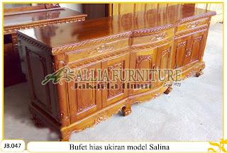 Bufet meja kayu jati ukiran model salina