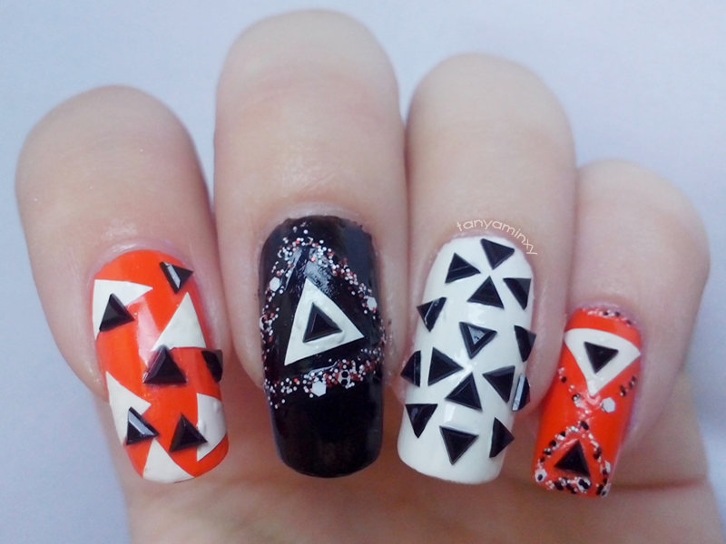 Geometric Triangle Nails Born Pretty Store Black Studs Orange Black White Nails