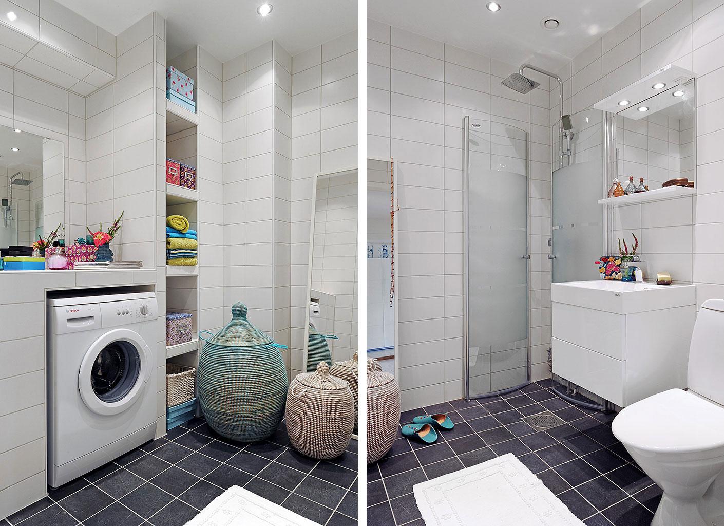 Дизайн ванной с туалетом и стиральной машиной
