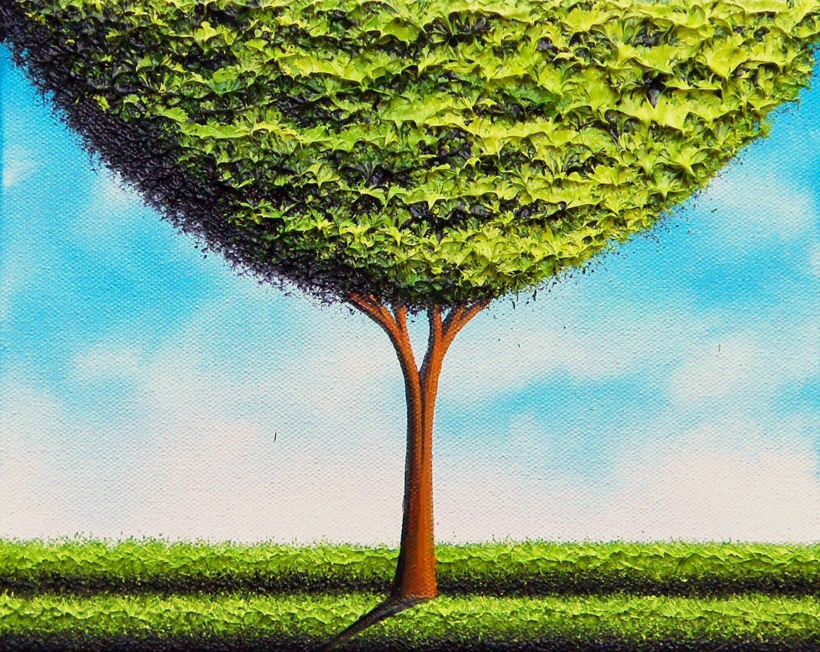 Green Tree Oil Painting, Hand Painted Contemporary Art Landscape ...