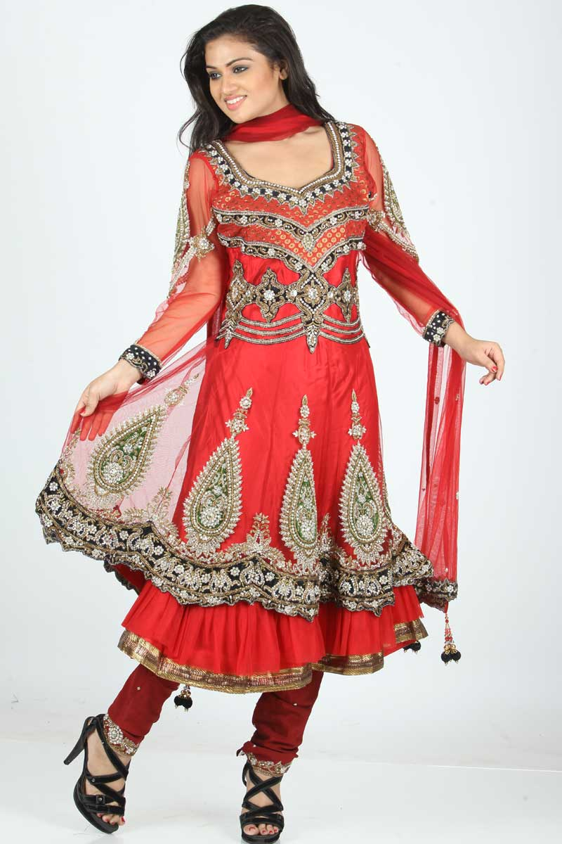 Beautiful Embroidered Handwork Churidar Dress  Women Fashion  Ladies Fashion