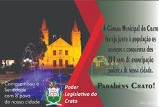 CÂMARA MUNICIPAL PARABENIZA O CRATO PELOS SEUS 254 ANOS DE EMANCIPAÇÃO POLÍTICA
