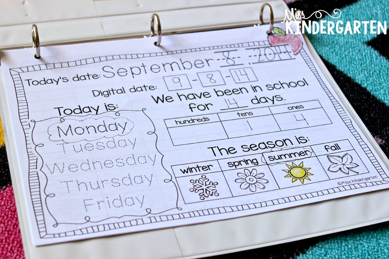 Kindergarten Calendar Notebook : Calendar time using interactive notebooks