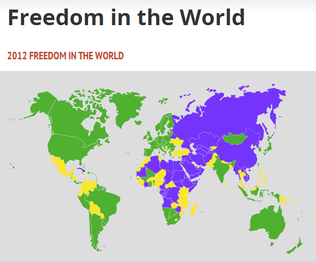 photo of map showing internet freedom