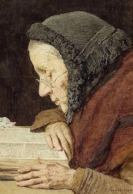 Albert Anker. Elderly Woman Reading the Bible, 1904