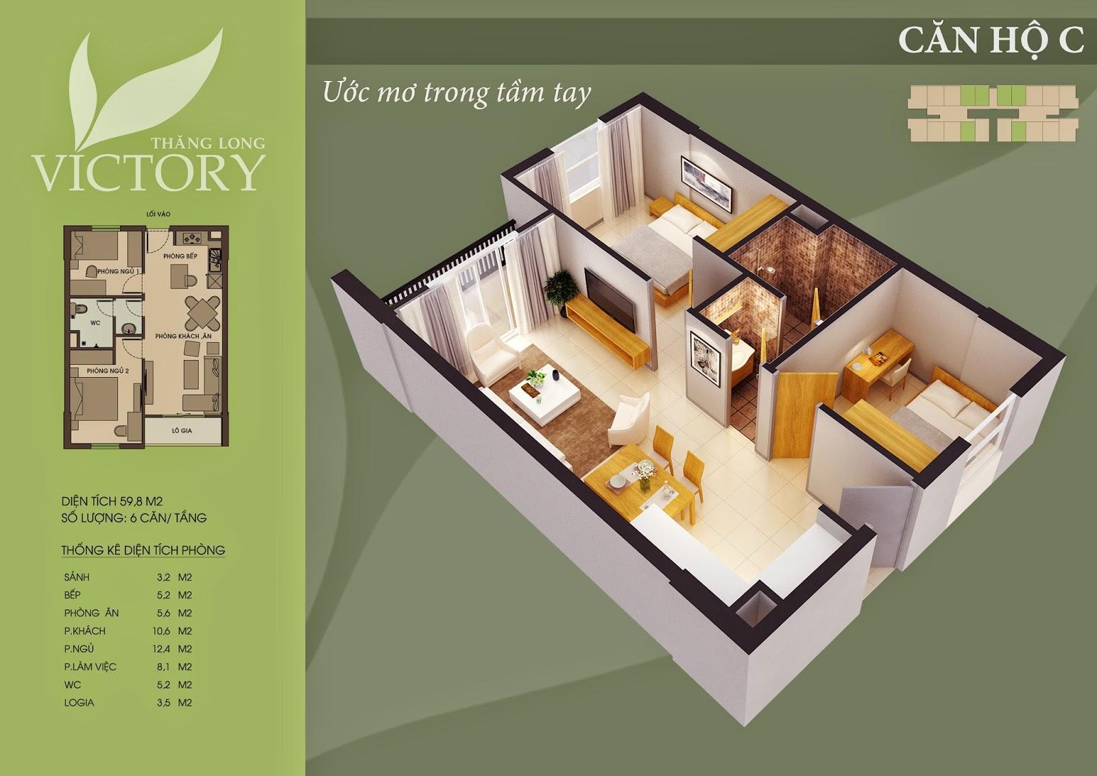Căn Hộ 59m2 Chung Cư Thăng Long Victory