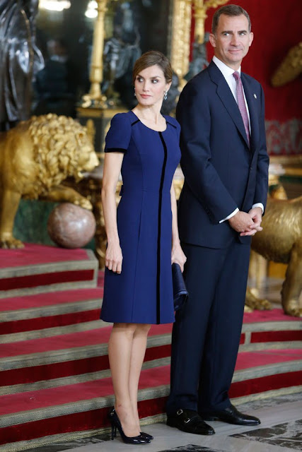 Queen Letizia and King Felipe at the audience held on the occasion of the Spanish National Day at the Royal Palace
