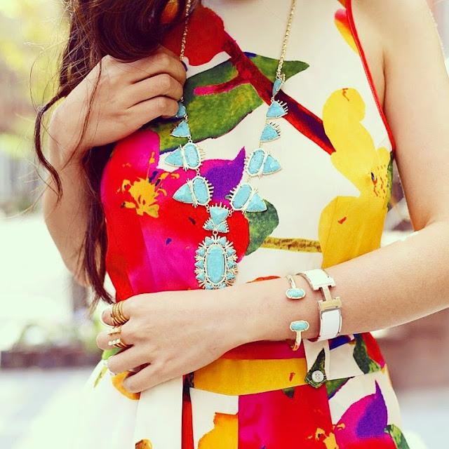 yumi kim floral sunshine jumpsuit, kendra scott havana statement necklace, Hermes bracelet, kendra scott elton bracelet, baublebar statement rings, aotd, jotd, fashionblog