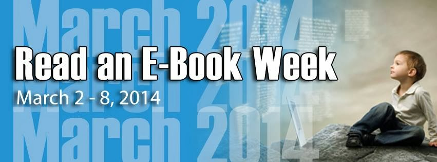 Horizontal banner for Read an Ebook Week.  Shows child.