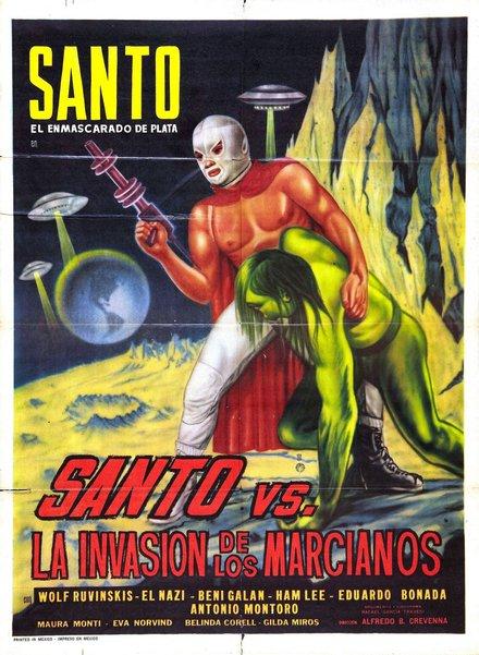 free printable, printable, classic posters, free download, graphic design, movies, retro prints, theater, vintage, vintage posters, Santo vs. La Invasion de Los Marcianos - Vintage Movie Poster