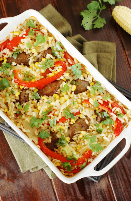 Baked Rice with Sausage, Peppers, & Corn