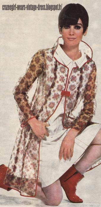 clear Raincoat - 1966 flower vinyl pvc rain coat 60s 1960 Tiffany