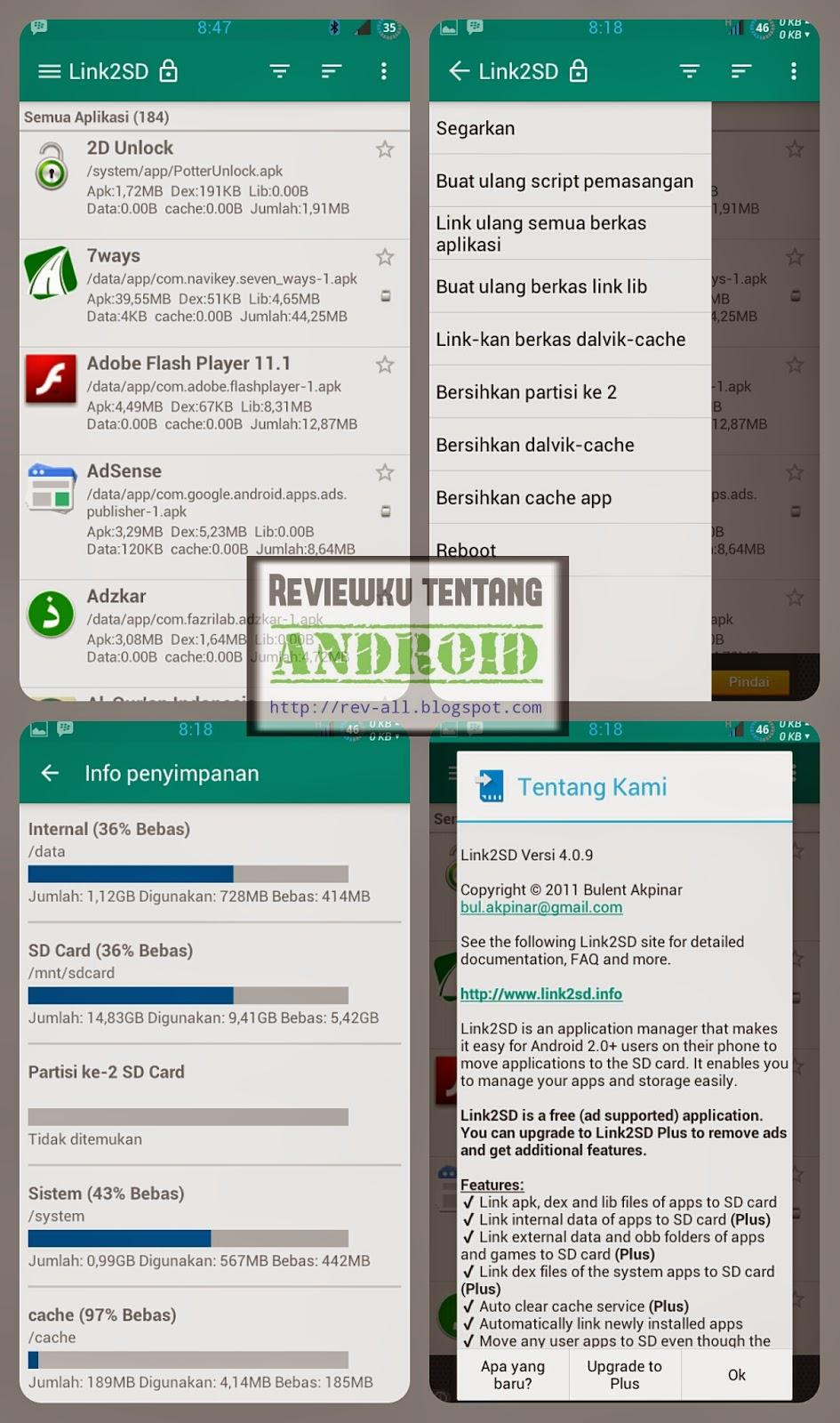 Tampilan  aplikasi Link2SD - Pindah aplikasi ke memori SD, hapus aplikasi sistem, dll dengan mudah (rev-all.blogspot.com)