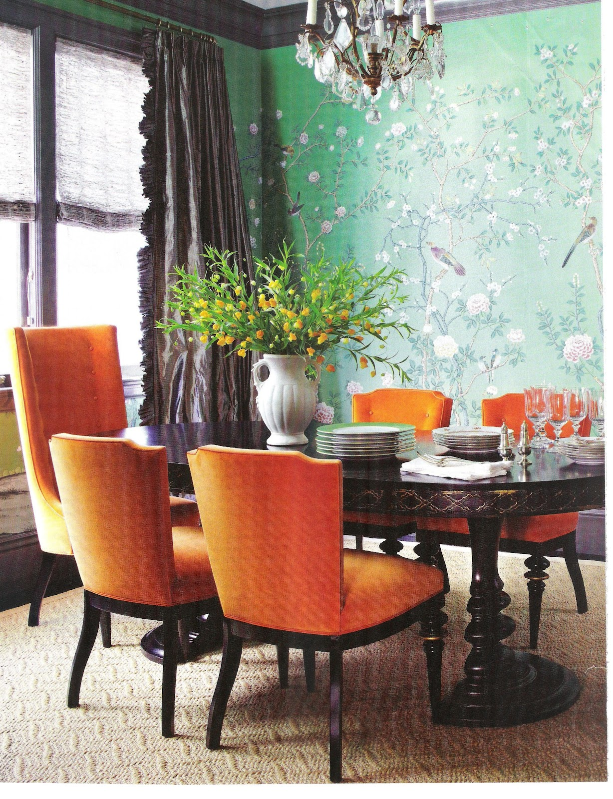 catchy orange dining room designs with awesome inspiration. Black Bedroom Furniture Sets. Home Design Ideas
