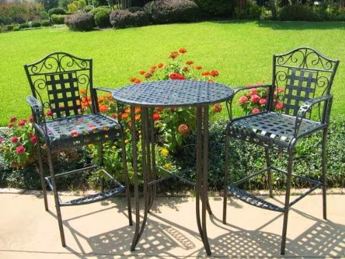 "Outdoor Bistro Set - 3 Piece Patio Furniture Set (Black Antique Pewter) (40""H x 30""W x 30""D)"
