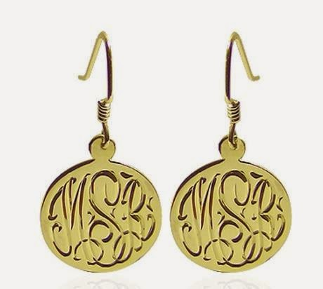 engraved gold monogrammed dangle earrings