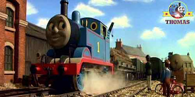 Sodor steam train Thomas the blue engine smiled he was playing a trick as he puffed happily away